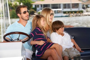 Family on boat image